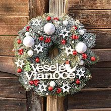 Dekorácie - Vianočný veniec s nápisom Veselé Vianoce - 10091249_