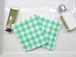 Drobnosti - Zerowaste kozmetické tampóny zelené káro - 10093963_