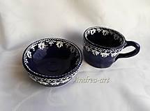 Nádoby - ľudová maľovaná miska a šálka - 10093488_