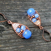 Náušnice - Náušnice Blue & Copper - 10090428_