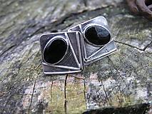 Šperky - Strieborné Manžetové gombíky Ag925 Ónyx - 10090761_