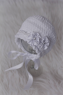 Detské čiapky - zimný čepček (nielen) na krst - 10090684_