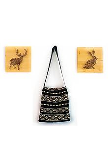 Veľké tašky - Čierna taška zo zdobeného zamatu - 10092480_