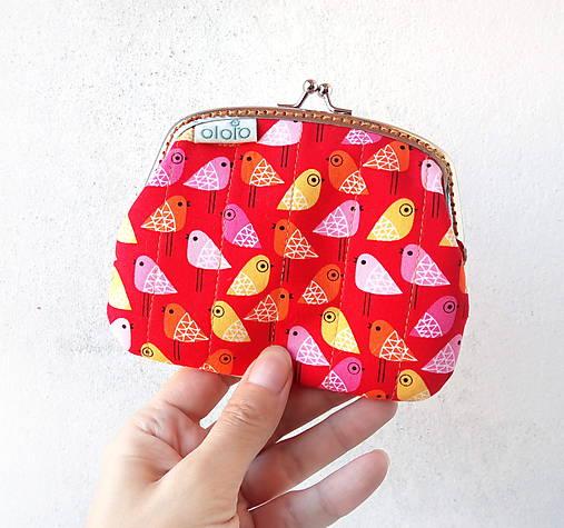 Peňaženka XL Vtáčiky na červenej