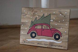 Tabuľky - Christmas car  (cca 25x33cm) - 10090748_