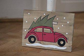 Tabuľky - Christmas car  (cca 20x30cm.) - 10090749_