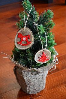 Dekorácie - Vianočné ozdoby na stromček v červenom - sada 2 kusov - 10090400_