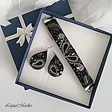 Náušnice - Elegancia v čiernom...sada v darčekovom balení - 10092538_