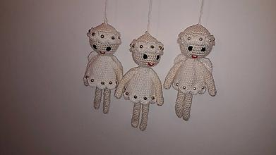 Dekorácie - anjeliky biele set 3ks - 10093055_