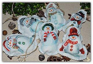 Dekorácie - Vianočné ozdoby - snehuliak na stromček - 10096797_