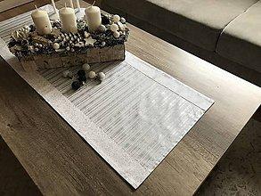 Úžitkový textil - vianočné štóly vzor strieborná  140 x 40 cm  (40 x 140 cm pásik vodorovne - Strieborná) - 10094923_