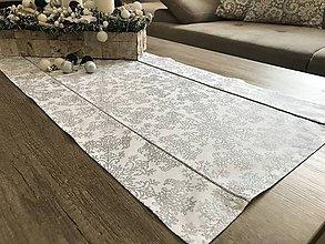 Úžitkový textil - vianočné štóly vzor strieborná  140 x 40 cm  (40 x 140 cm vločka  - Strieborná) - 10094936_