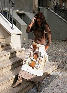Sukne - lel sukňa patchwork kapucino-mocca veselá - 10098377_