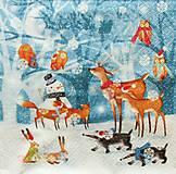 - S1343 - Servítky - Vianoce, jeleň, líška, sova, les - 10095052_