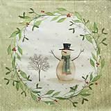 - S1346 - Servítky - Vianoce, snehuliak, imelo, šál - 10095071_