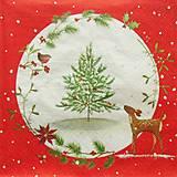 - S1347 - Servítky - Vianoce, stromček, srnka, vtáčik - 10095078_