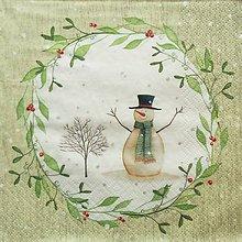 Papier - S1346 - Servítky - Vianoce, snehuliak, imelo, šál - 10095071_
