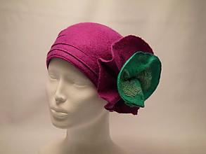 Čiapky - Dámsky vlnený klobúk farby Fuchsia - 10097613_