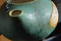 Nádoby - Keramický kvetináč zelený, medienkový, čajník, závesný :o)) III. - 10095628_