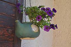 Nádoby - Keramický kvetináč zelený, medienkový, čajník, závesný :o)) III. - 10095646_
