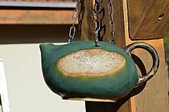 Nádoby - Keramický kvetináč zelený, medienkový, čajník, závesný :o)) III. - 10095774_