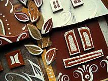 Obrazy - Hnedé domčeky so stromom - 10097781_