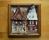 Obrazy - Hnedé domčeky so stromom - 10097782_
