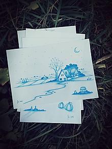 Kresby - Modrá kresba - set - 10098557_