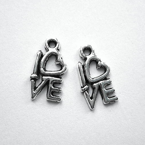 "Kov.prívesok ""love"" 14x8mm-1ks"