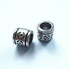 Korálky - Kov.rúrka 8mm/otvor 5mm-1ks - 10098623_