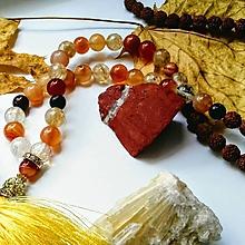 Náhrdelníky - Japamala z rudraksha semienok, citrínu a žiarivého achátu - 10098525_