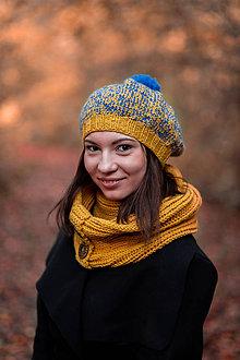 Čiapky - Baretka žlto - modrá - 10095286_