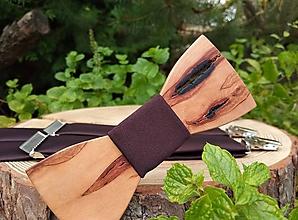 Doplnky - Pánsky drevený motýlik a traky - 10094835_