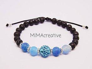 Náramky - NAR5001 náramok s modrým achátom - 10096814_