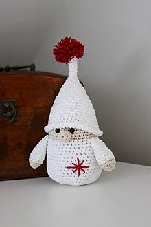 Dekorácie - Zimný škriatok v bielo- červenej - 10094984_