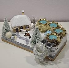 Svietidlá a sviečky - Vianočná krajinka: Zasnežená chalúpka - 10094628_