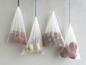 Nákupné tašky - Sada ekologických vrecúšok s farebnými šnúrkami - 10095739_