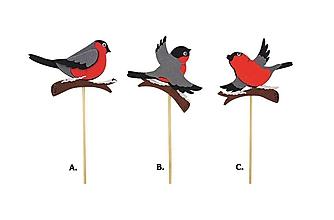 Iný materiál - Zápich vtáčik filcový 8cm + špajla - 10097625_