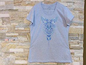 Tričká - Tričko v ľudovom štýle v modrom prevedení - 10098370_