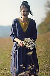 Šaty - Lněné zavinovací Indigo - 10097109_