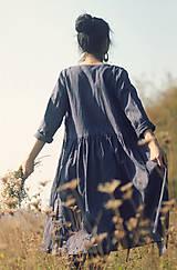 Šaty - Lněné zavinovací Indigo - 10097125_