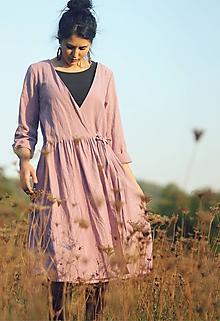 Šaty - Lněné zavinovací Mauve - 10097066_