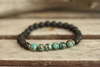 Šperky - Pánsky náramok z minerálu achát a láva - 10097527_