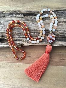 Náhrdelníky - Mala náhrdelník karneol a achát - 10100365_