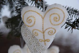 Dekorácie - vianočné folk srdiečko - ozdoba - 10103592_