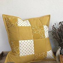 Úžitkový textil - Prehoz, vankúš patchwork vzor moderná žltá kombinácia ( rôzne varianty veľkostí ) - 10103691_