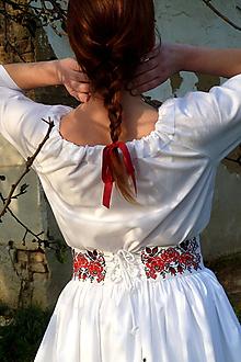 Opasky - Opasok Vyšívané bordúry ruží - 10098786_