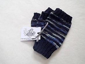 Rukavice - Návleky vlnené modré - 10099799_