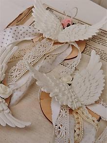 Dekorácie - Shabby chic anjelské krídla na stromček - 10101006_