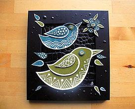 Obrazy - Zelené vtáky - 10098653_